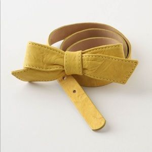 ANTHROPOLOGIE Yellow Leather Bow Belt M